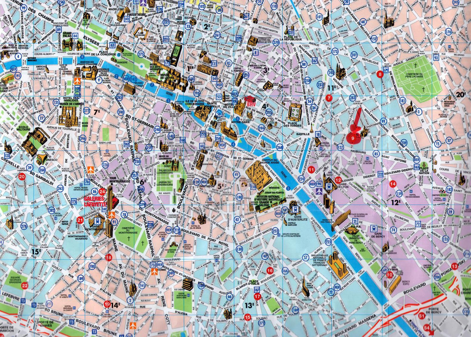 Pariz Mesto Turisticka Mapa Pariz Mapa Mesta S Turistickymi