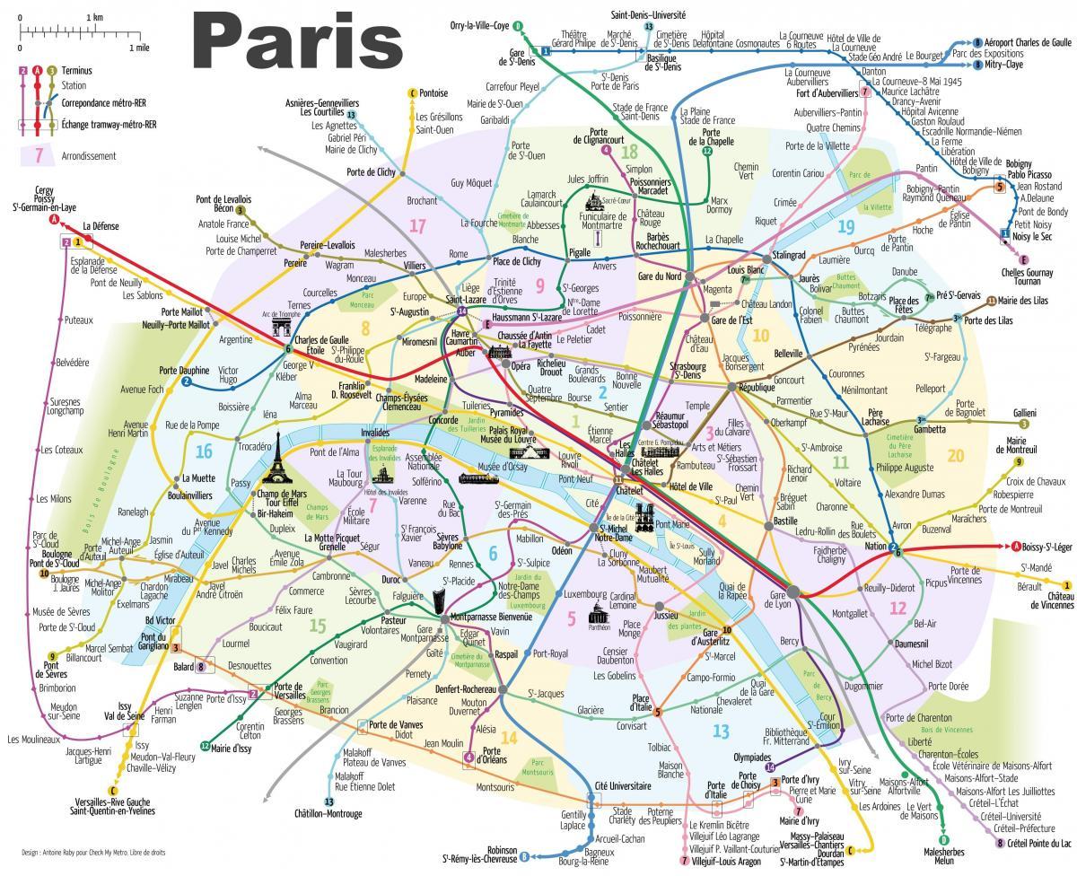 Paris Turisticka Mapa S Metro Turisticka Mapa Parize S Stanic